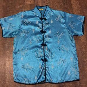 Lana Pine Kimono Thai Silk Blue Women's Medium